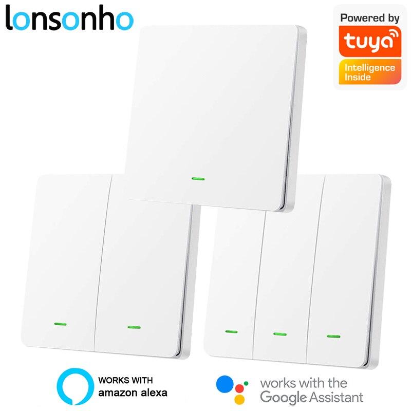 Lonsonho Tuya WiFi Smart Switch EU 220V With/ No Neutral Push Button Light Switches Multi Control Association Alexa Google Home